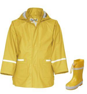 Детски жълти гумени ботуши и дъждобран