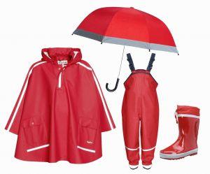 Детски дъждобран Пончо в сет Red 6