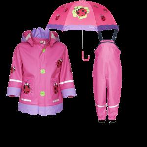 Детски дъждобран, гумиран гащеризон и чадър Калинка