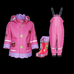 Детски дъждобран, гумиран гащеризон и гумени ботушки Калинка