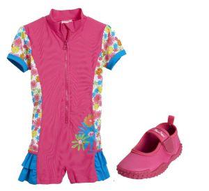 Детски бански за момиче Цветя 3