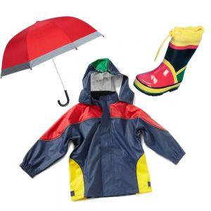 Детски гумени ботуши, дъждобран и чадър Цветни