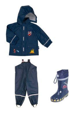 Детски дъждобран,гащеризон и гумени ботушки Пожарна