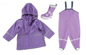Лила: детски дъждобран, гащеризон и ботушки