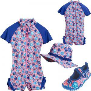Детски бански момиче Blue Flowers1