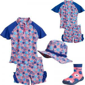 Детски бански момиче Blue Flowers 3