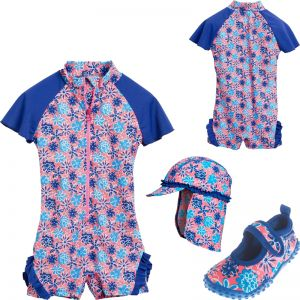 Детски бански момиче Blue Flowers 5