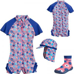 Детски бански момиче Blue Flowers 6