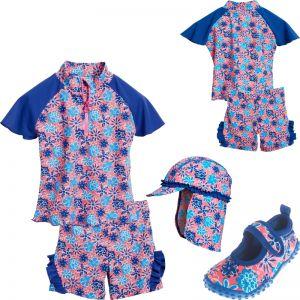 Детски бански момиче Blue Flowers 7