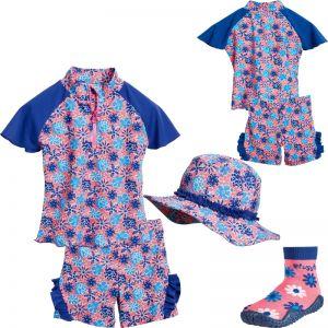Детски бански момиче Blue Flowers 8