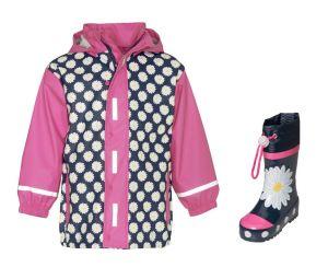 Детски дъждобран и гумени ботушки за момиче, Маргаритки