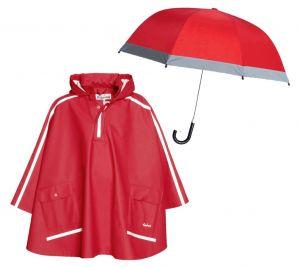 Детски дъждобран Пончо и чадър Red