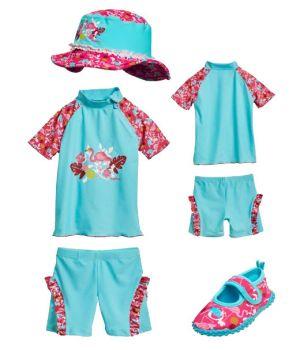 Бански за момиченце в сет Фламинго 1
