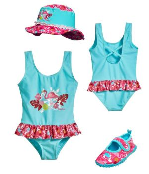 Детски бански момиче Фламинго 2