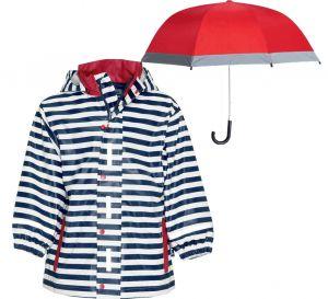 Детски дъждобран за момиче и червен чадър