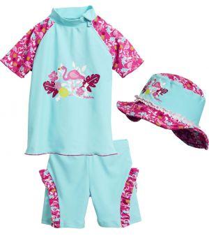 Бански за момиченце в сет Фламинго 3