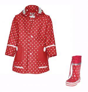 Детски гумени ботуши и дъждобран Dots