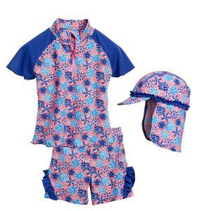 Детски бански за момичета Сини цветя 4