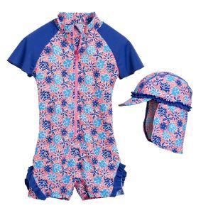 Детски бански за момиче Сини цветя 2