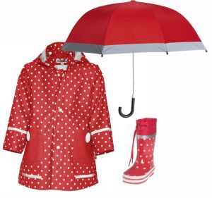 Детски дъждобран, ботушки и чадър Red