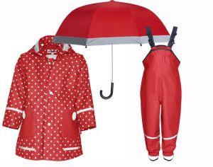 Детски дъждобран, гащеризон и чадър Red